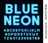 blue neon tube alphabet font.... | Shutterstock .eps vector #464457848
