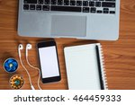 office table with notepad ... | Shutterstock . vector #464459333