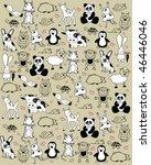 Stock vector cute animals pattern 46446046