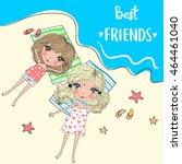 hand drawn beautiful cute girls ... | Shutterstock .eps vector #464461040