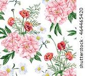 nice bouquet of garden peonies  ... | Shutterstock . vector #464465420