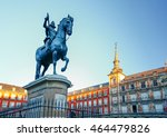 plaza mayor with statue of king ... | Shutterstock . vector #464479826