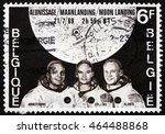 Small photo of CROATIA ZAGREB, 1 AUGUST 2016: a stamp printed in Belgium shows Armstrong, Collins and Aldrin and Map Showing Tranquility Base, Moon Landing, circa 1969