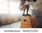 fit young woman box jumping at... | Shutterstock . vector #464521250