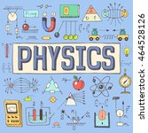 physics hand drawn colorful... | Shutterstock .eps vector #464528126