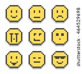 flat pixel smile icons set with ... | Shutterstock .eps vector #464529698