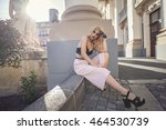 fashion blonde woman street... | Shutterstock . vector #464530739