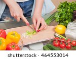girl's hand with a knife... | Shutterstock . vector #464553014