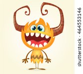 happy orange monster. vector... | Shutterstock .eps vector #464553146