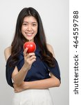 young asian woman holding red... | Shutterstock . vector #464559788
