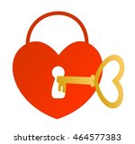 heart lock with a golden key | Shutterstock .eps vector #464577383