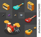 rock musical instruments icons... | Shutterstock .eps vector #464623400