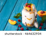 fruit and berries dessert in a... | Shutterstock . vector #464632934