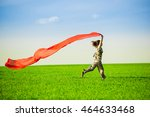beautiful young woman jumping... | Shutterstock . vector #464633468