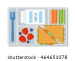 school lunch with a sandwich ... | Shutterstock .eps vector #464651078