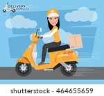 fast delivery. delivery girl... | Shutterstock .eps vector #464655659