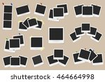 Set of realistic vector photo frames on sticky tape, pins and rivets isolated on beige background. Template photo design. Vector illustration