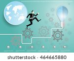 vector businessman runs and... | Shutterstock .eps vector #464665880
