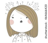 girl in panic. so many... | Shutterstock .eps vector #464666420