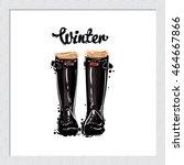 beautiful hand drawn fashion... | Shutterstock .eps vector #464667866