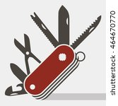 Red Swiss Army Knife Flat Icon...