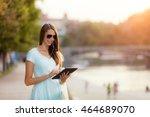 beautiful young brunette woman... | Shutterstock . vector #464689070