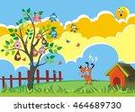 angry dog and birds   garden... | Shutterstock . vector #464689730
