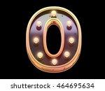 golden lamp signboard font. 3d... | Shutterstock . vector #464695634