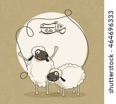 illustration of funny sheeps... | Shutterstock .eps vector #464696333