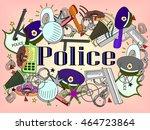 vector line art doodle set of... | Shutterstock .eps vector #464723864