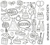 wedding party doodle icons hand ... | Shutterstock .eps vector #464724374