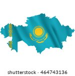 waving fabric flag map of... | Shutterstock .eps vector #464743136