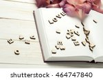 the word love a lot of hearts ... | Shutterstock . vector #464747840