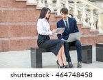 boss in blue suit and his... | Shutterstock . vector #464748458