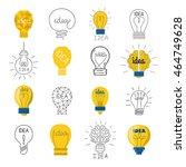 set drawing idea light bulb... | Shutterstock .eps vector #464749628