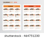 simple pocket calendar for 2017 ... | Shutterstock .eps vector #464751230