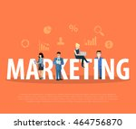 flat business people with... | Shutterstock .eps vector #464756870