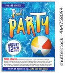 a pool party invitation... | Shutterstock .eps vector #464758094