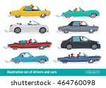 taxi drivers car set  drivers... | Shutterstock .eps vector #464760098