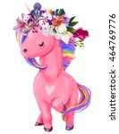 Pink Unicorn With Floral Wreath