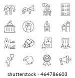 set of vote icon in thin line... | Shutterstock .eps vector #464786603