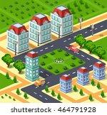 city illustration with urban... | Shutterstock . vector #464791928