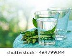 glass of water and mint on table | Shutterstock . vector #464799044