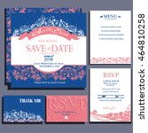 set of wedding cards with small ...   Shutterstock .eps vector #464810258