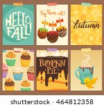 set of cute vector cards about... | Shutterstock .eps vector #464812358