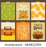 vector set of halloween... | Shutterstock .eps vector #464812394