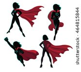 female superhero silhouette... | Shutterstock .eps vector #464815844