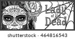woman with sugar skull makeup ...   Shutterstock .eps vector #464816543