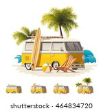 vector vintage surfers van icon ... | Shutterstock .eps vector #464834720