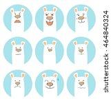 set of hand drawn cartoon bears ... | Shutterstock .eps vector #464840324